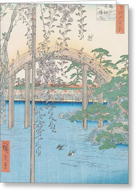 Flying Drawings Greeting Cards - The Bridge with Wisteria Greeting Card by Hiroshige