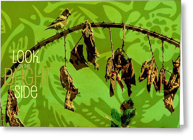 Vine Leaves Mixed Media Greeting Cards - The Bright Side Greeting Card by Bonnie Bruno