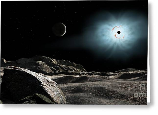 Orionis Greeting Cards - The Bright Star Rigel Eclipsed Greeting Card by Ron Miller