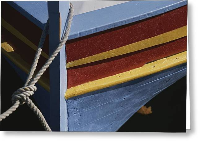 Languedoc Greeting Cards - The Brightly Colored Bow Of A Boat Greeting Card by Stacy Gold