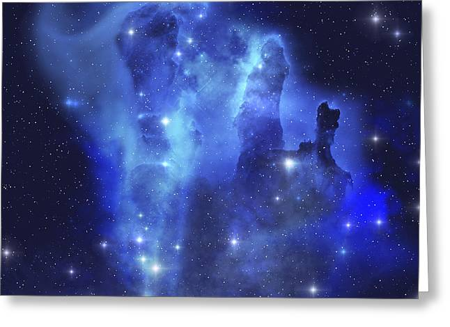 Celestial Pillars.celestial Greeting Cards - The Brilliant Blues Of This Star Making Greeting Card by Corey Ford