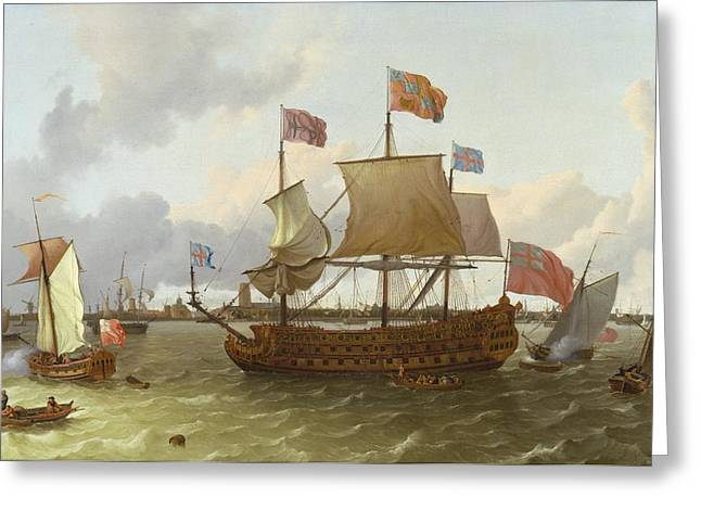 Choppy Water Greeting Cards - The Britannia in Rotterdam Greeting Card by Ludolf Backhuysen