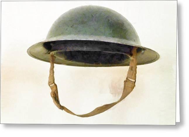 Shrapnel Hat Greeting Cards - The British Brodie Helmet  Greeting Card by Steve Taylor