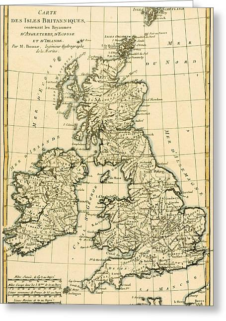 Geography Drawings Greeting Cards - The British Isles Greeting Card by Guillaume Raynal