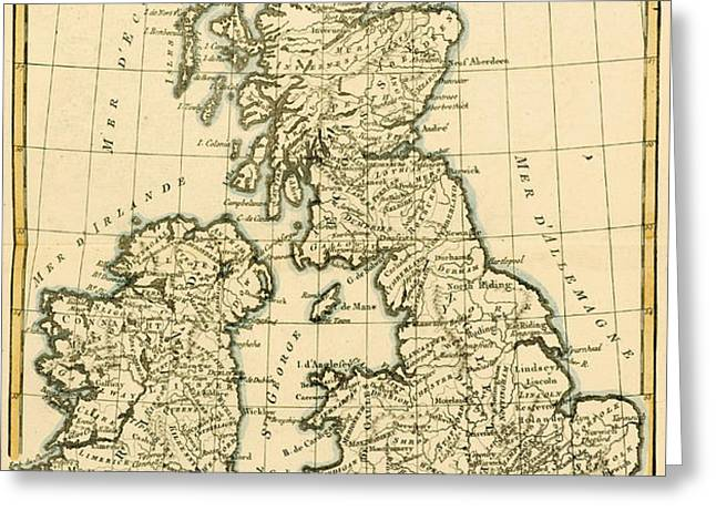 The British Isles Greeting Card by Guillaume Raynal