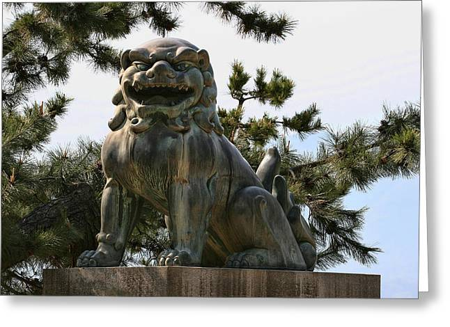 Lions Greeting Cards - The bronze Lion Greeting Card by Andrei Fried