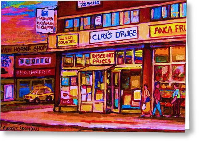 Montreal Pizza Places Greeting Cards - The Brown Derby Greeting Card by Carole Spandau