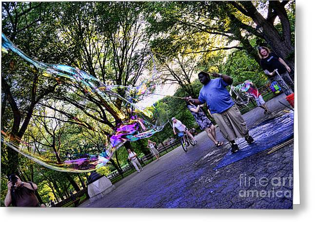 The Big Man Greeting Cards - The Bubble Man of Central Park Greeting Card by Paul Ward