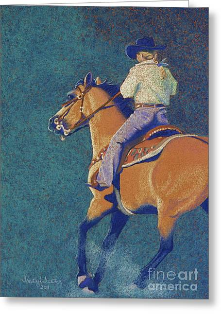 Barrel Pastels Greeting Cards - The Buckskin Greeting Card by Tracy L Teeter