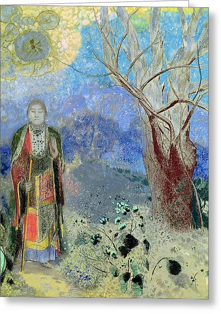 Modern Buddhist Art Greeting Cards - The Buddha Greeting Card by Odilon Redon