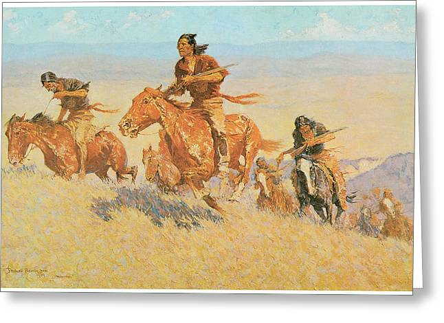 Big Basin Greeting Cards - The Buffalo Runners Big Horn Basin Greeting Card by Frederic Remington