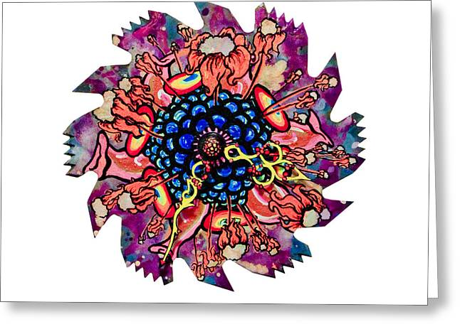 Saw Mixed Media Greeting Cards - The Bug-Blossom Greeting Card by Jessica Sornson