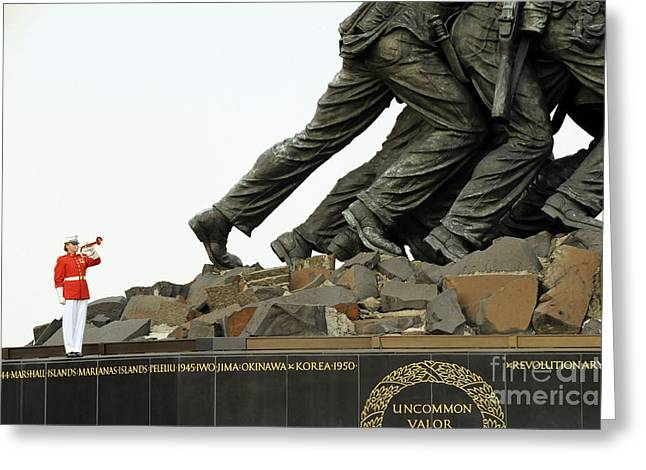 Playing Musical Instruments Greeting Cards - The Bugler With The U.s. Marine Corps Greeting Card by Stocktrek Images