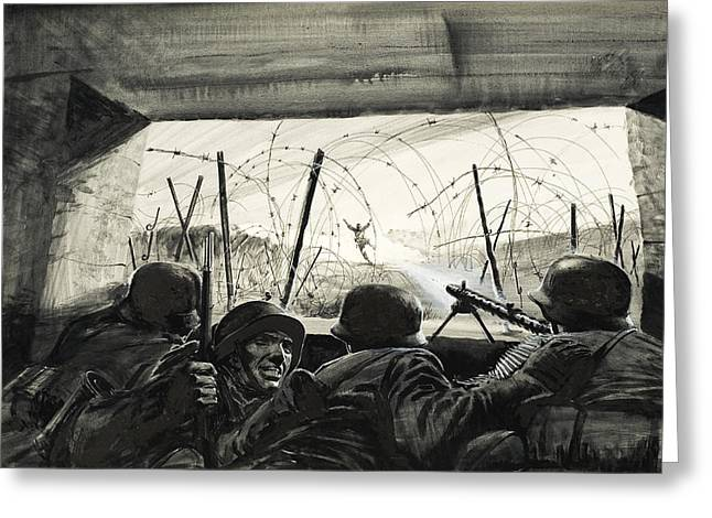 Aiming Greeting Cards - The Bunker  Greeting Card by Graham Coton