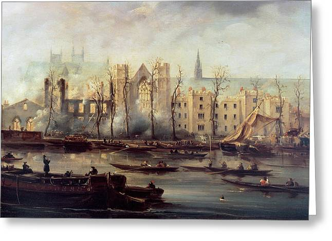The Houses Greeting Cards - The Burning of the Houses of Parliament Greeting Card by The Burning of the Houses of Parliament