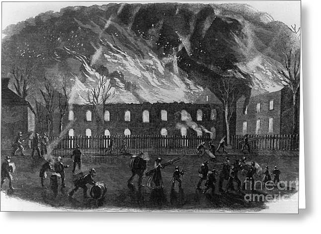 The Burning Of The U.s. Arsenal Greeting Card by Photo Researchers