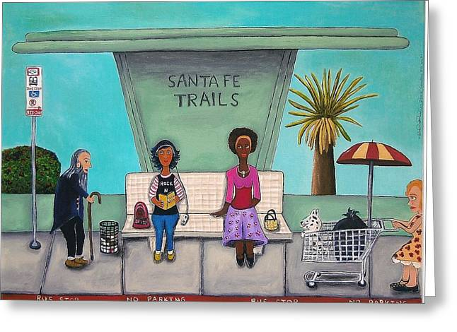 Bus Stop Greeting Cards - The Bus Stop Greeting Card by Leah Saulnier The Painting Maniac