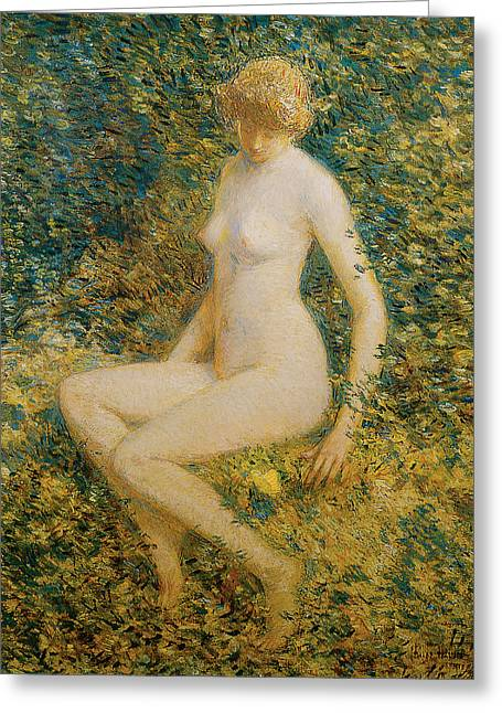 Frederick Greeting Cards - The Butterfly Greeting Card by Frederick Childe Hassam