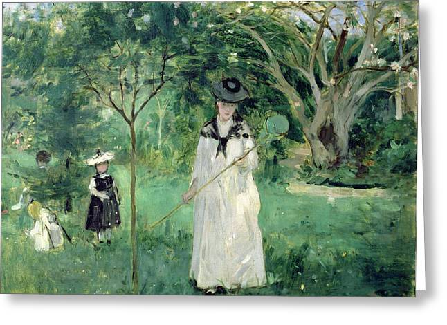 Net Greeting Cards - The Butterfly Hunt Greeting Card by Berthe Morisot