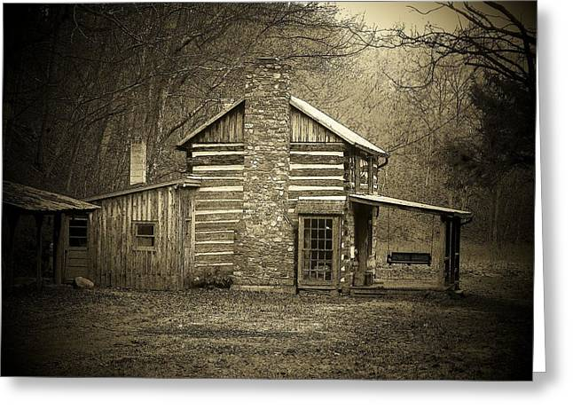 Mountain Cabin Greeting Cards - The Cabin Greeting Card by Michael L Kimble