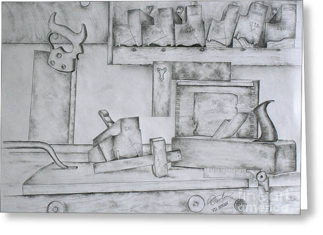 Saw Drawings Greeting Cards - The Cabinetmaker I Greeting Card by Christopher Keeler Doolin