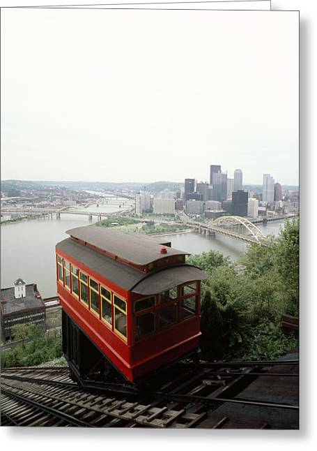 River Of Life Greeting Cards - The Cable Car To Mount Washington Greeting Card by Lynn Johnson
