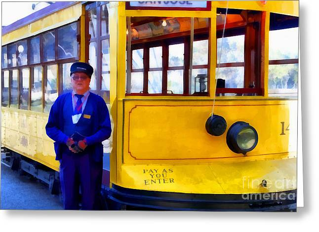 Old Street Greeting Cards - The Cablecar Motorman . 7D12868 Greeting Card by Wingsdomain Art and Photography