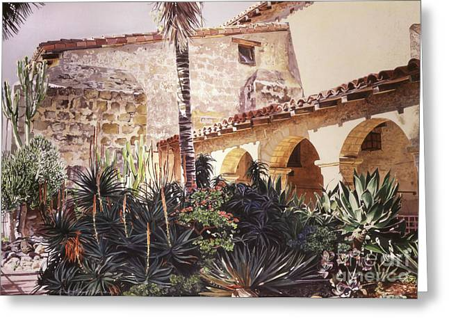 Tiled Greeting Cards - The Cactus Courtyard - Mission Santa Barbara Greeting Card by David Lloyd Glover
