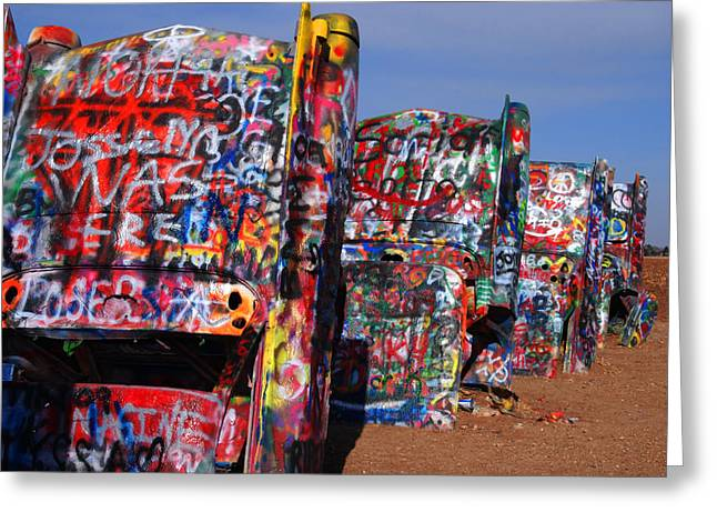 Road Travel Greeting Cards - The Cadillac Ranch by Amarillo TX Greeting Card by Susanne Van Hulst