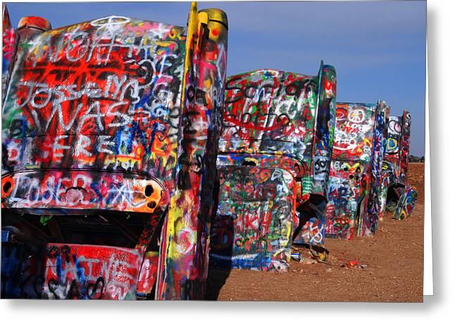 Susanne Van Hulst Greeting Cards - The Cadillac Ranch by Amarillo TX Greeting Card by Susanne Van Hulst
