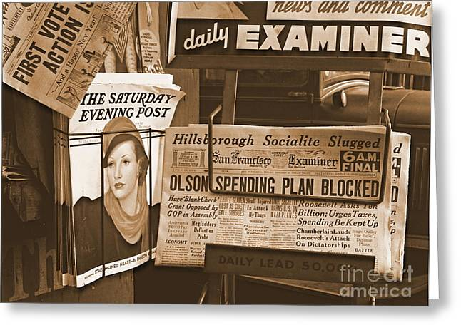 Examiner Greeting Cards - The California New Deal Greeting Card by Padre Art