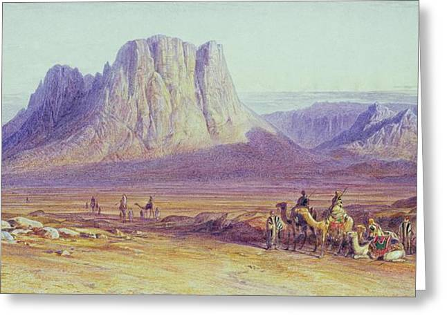 Sinai Mountain Greeting Cards - The Camel Train Greeting Card by Edward Lear