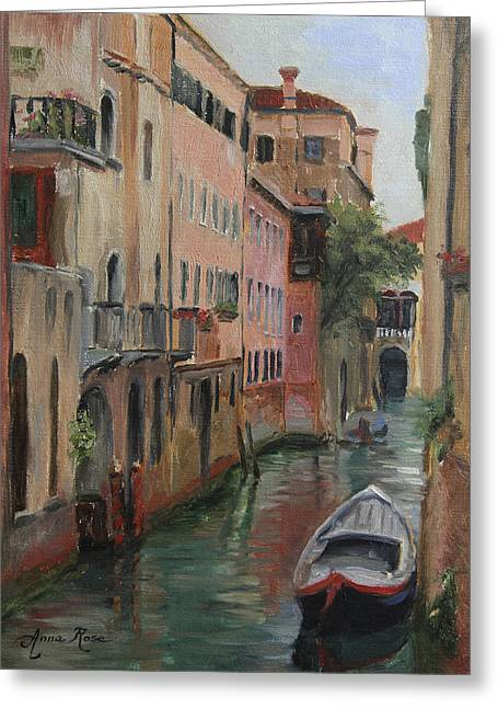 Venice Italy Greeting Cards - The Canal Less Travelled Greeting Card by Anna Bain