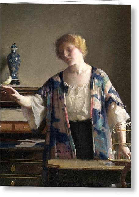 Chest Greeting Cards - The Canary Greeting Card by William McGregor Paxton