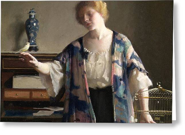 The Canary Greeting Card by William McGregor Paxton