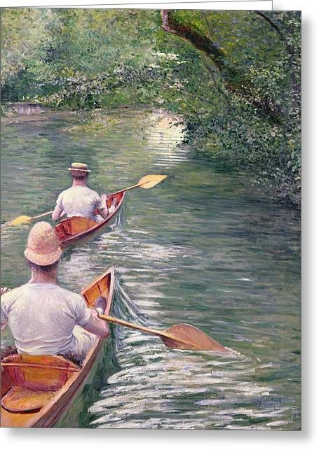 Boats On Water Greeting Cards - The Canoes Greeting Card by Gustave Caillebotte