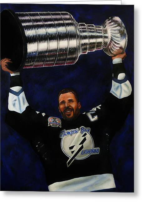 Hockey Paintings Greeting Cards - The Captain Greeting Card by Marlon Huynh
