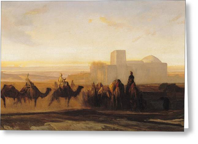 The Caravan Greeting Card by Alexandre Gabriel Decamps