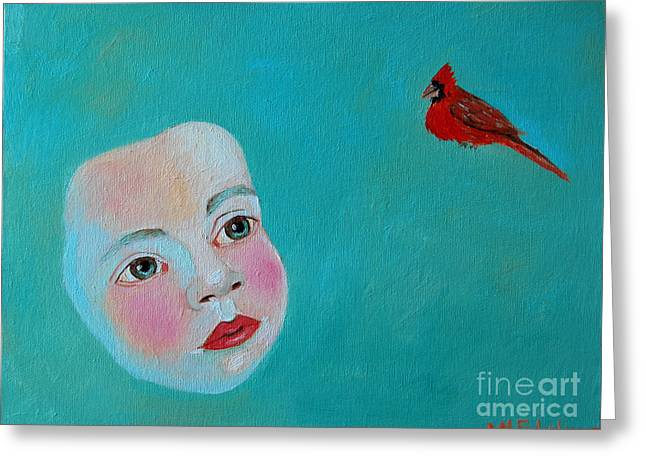 Angel Blues Greeting Cards - The Cardinals Song Greeting Card by Ana Maria Edulescu