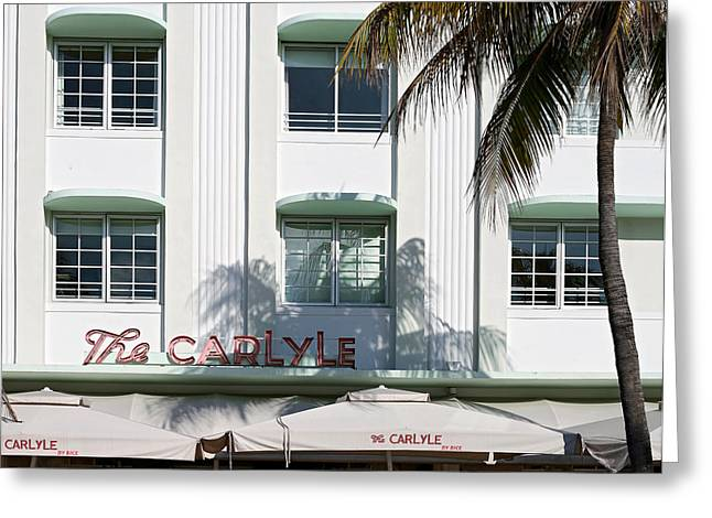 Florida House Greeting Cards - The Carlyle Hotel 2. Miami. FL. USA Greeting Card by Juan Carlos Ferro Duque
