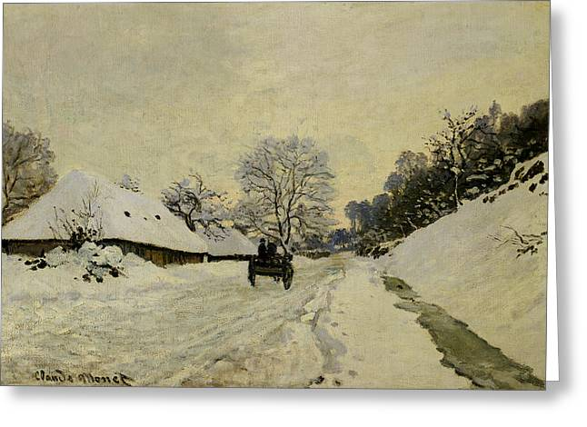 Winter Travel Paintings Greeting Cards - The Cart Greeting Card by Claude Monet