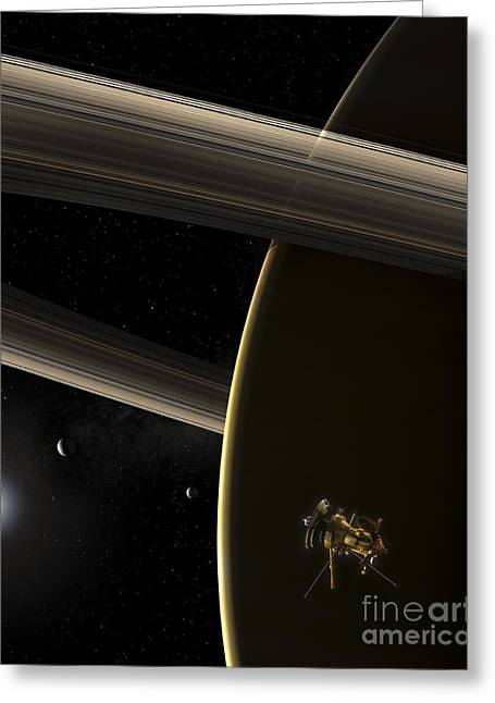 Rendition Greeting Cards - The Cassini Spacecraft In Orbit Greeting Card by Steven Hobbs
