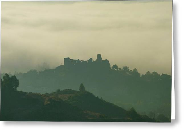 Castle In Valley Greeting Cards - The castle in the mist Greeting Card by Shanti Nirvane