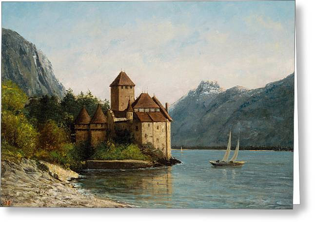 Swiss Greeting Cards - The Castle of Chillon Evening Greeting Card by Gustave Courbet