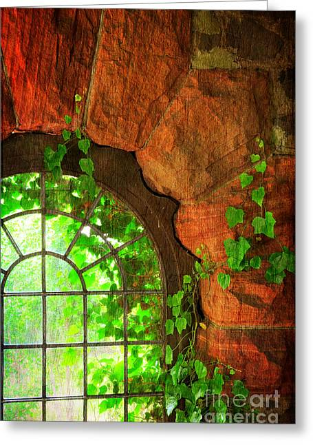 Paint Effect Greeting Cards - The Castle Window 1 Greeting Card by Paul Ward