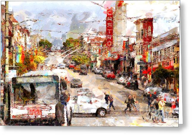 Castro Greeting Cards - The Castro in San Francisco . 7D7573 Greeting Card by Wingsdomain Art and Photography