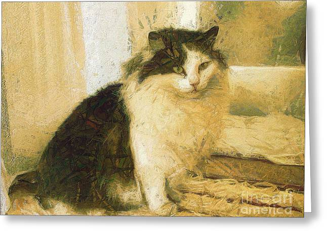 British Portraits Greeting Cards - The cat Greeting Card by Odon Czintos