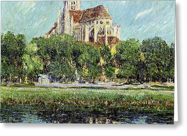 The Cathedral at Auxerre Greeting Card by Gustave Loiseau