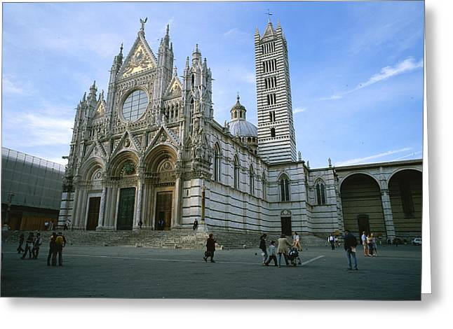 Art Of Building Greeting Cards - The Cathedral In Siena Is A Mixture Greeting Card by Taylor S. Kennedy