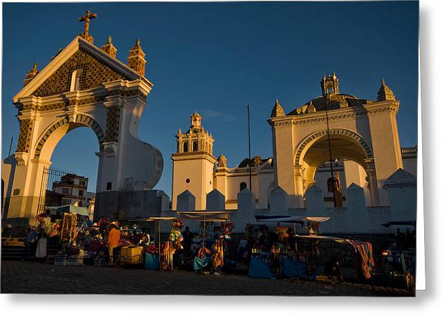 Andes Greeting Cards - The Cathedral of the population of Copacabana. Republic of Bolivia. Greeting Card by Eric Bauer